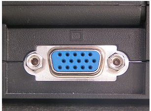A female DE-15 output in a laptop computer