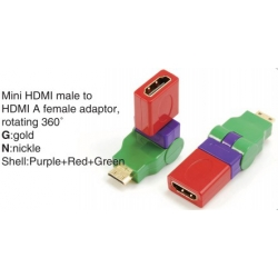 TR-13-004-8 Mini HDMI male to HDMI A female adaptor,rotating 360°