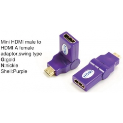 TR-13-003-7 Mini HDMI male to HDMI A female adaptor,swing type