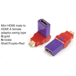TR-13-003-8 Mini HDMI male to HDMI A female adaptor,swing type