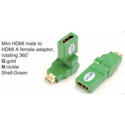 TR-13-004-5 Mini HDMI male to HDMI A female adaptor,rotating 360°