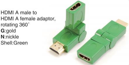 TR-13-006-4 HDMI A male to HDMI A female adaptor,rotating 360°