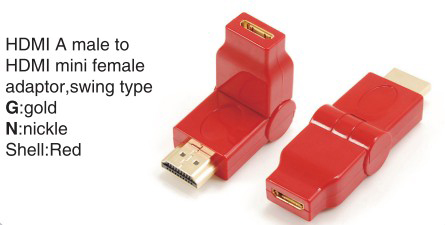 TR-13-005-2 HDMI A male to HDMI mini female adaptor,swing type
