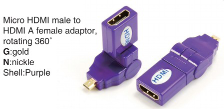 TR-13-002-7 Micro HDMI male to HDMI A female adaptor,rotating 360°