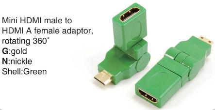 TR-13-004-4 Mini HDMI male to HDMI A female adaptor,rotating 360°