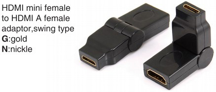 TR-12-002 HDMI mini male to HDMI A female adaptor,swing type