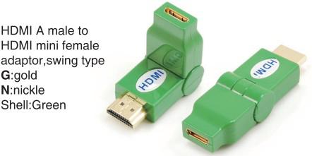 TR-13-005-5 HDMI A male to HDMI mini female adaptor,swing type