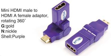 TR-13-004-7 Mini HDMI male to HDMI A female adaptor,rotating 360°