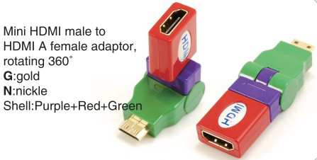 TR-13-004-9 Mini HDMI male to HDMI A female adaptor,rotating 360°