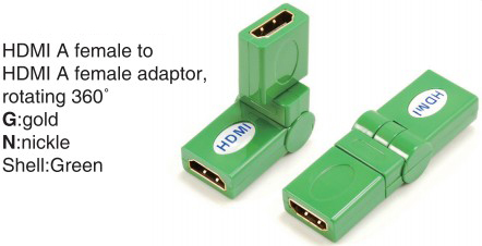 TR-13-008-5 HDMI A male to HDMI A female adaptor,rotating 360°