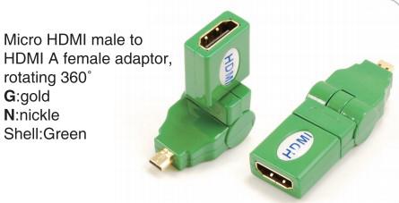 TR-13-002-5 Micro HDMI male to HDMI A female adaptor,rotating 360°