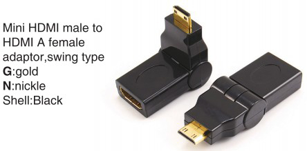 TR-11-003 HDMI A male to HDMI A female adaptor,swing type