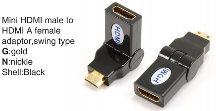 TR-13-003-1 Mini HDMI male to HDMI A female adaptor,swing type