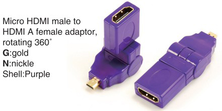 TR-13-002-6 Micro HDMI male to HDMI A female adaptor,rotating 360°