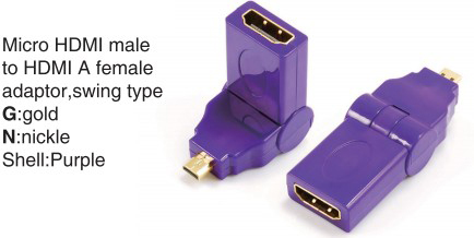 TR-13-001-6 Micro HDMI male to HDMI A female adaptor,swing type