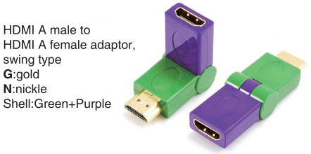 TR-13-009-8 HDMI A male to HDMI A female adaptor,swing type