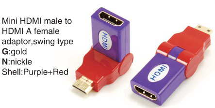 TR-13-003-9 Mini HDMI male to HDMI A female adaptor,swing type