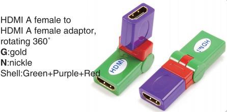 TR-13-008-9 HDMI A male to HDMI A female adaptor,rotating 360°