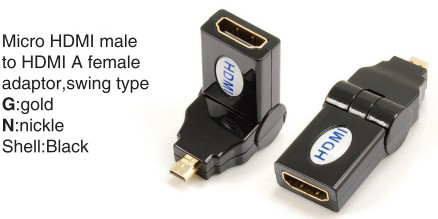 TR-13-001-1 Micro HDMI male to HDMI A female adaptor,swing type