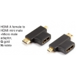 HDMI A male to HDMI mini male+Micro male adaptor